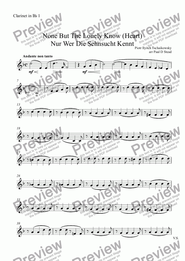 page one of the Clarinet in B^b 1^ ^ ^ part from None But The Lonely Know (Heart) Nur Wer Die Sehnsucht Kennt