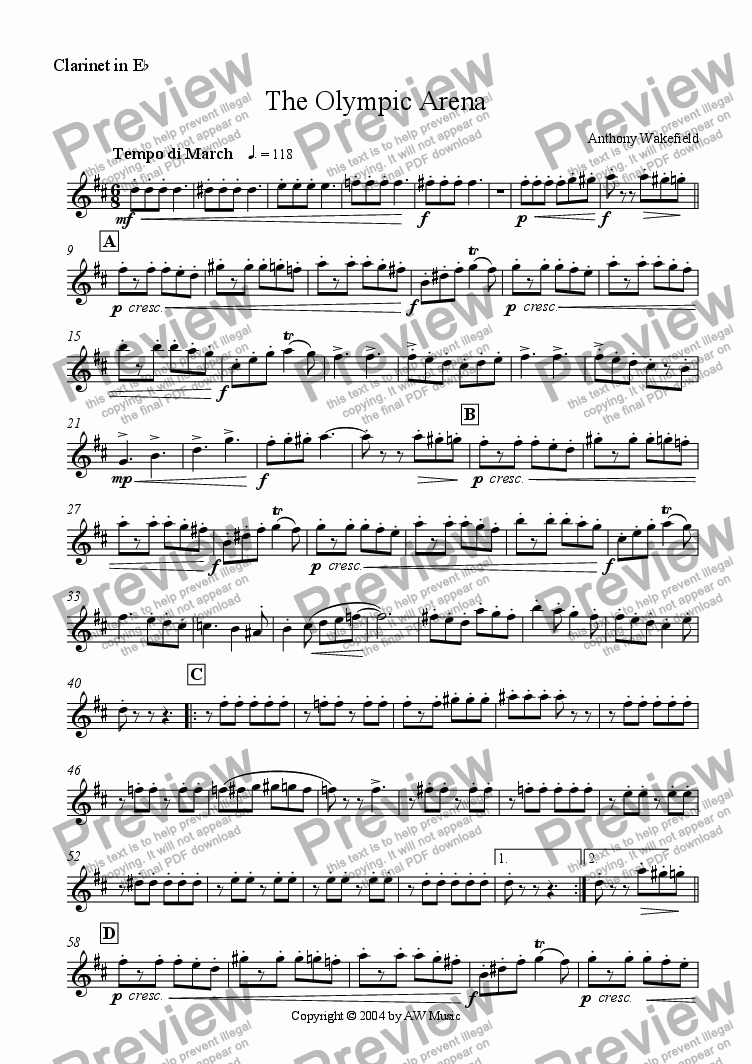 page one of the Clarinet in Eb part from The Olympic Arena