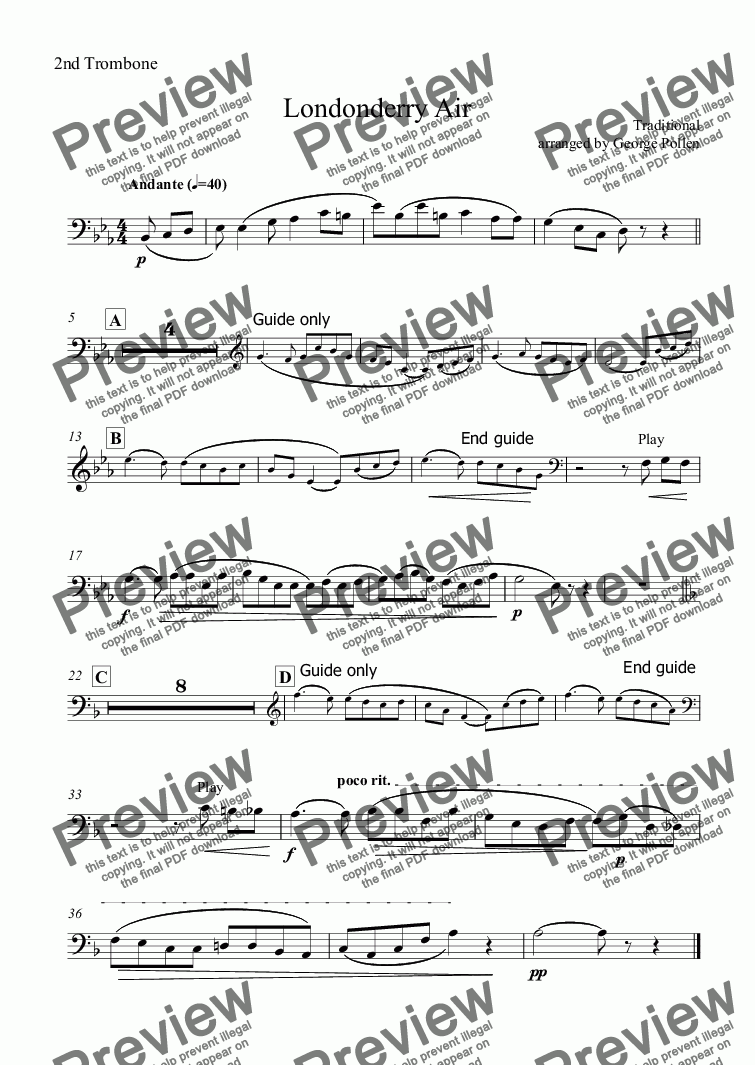 page one of the 2nd Trombone part from Londonderry Air