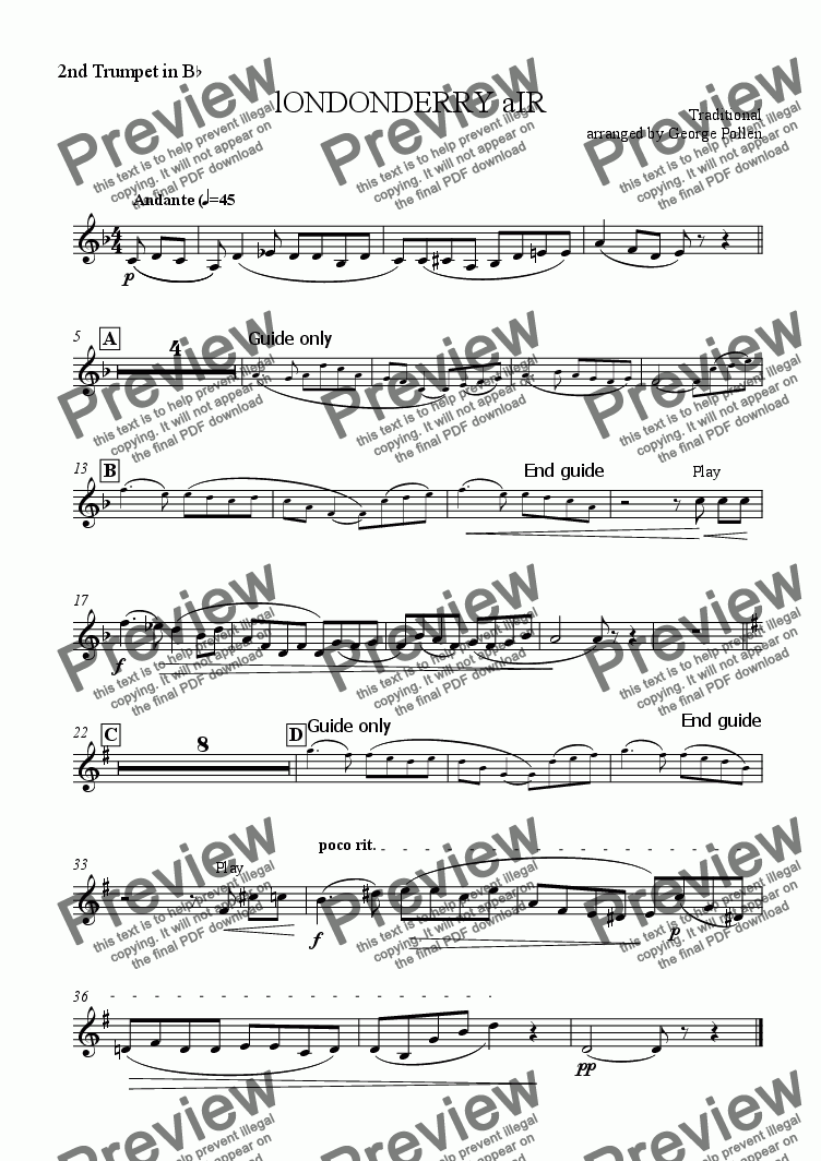 page one of the 2nd Trumpet in Bb part from Londonderry Air (CB)