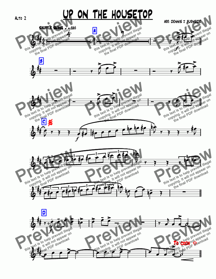 page one of the Alto 2 part from UP ON THE HOUSETOP bigband-christmas