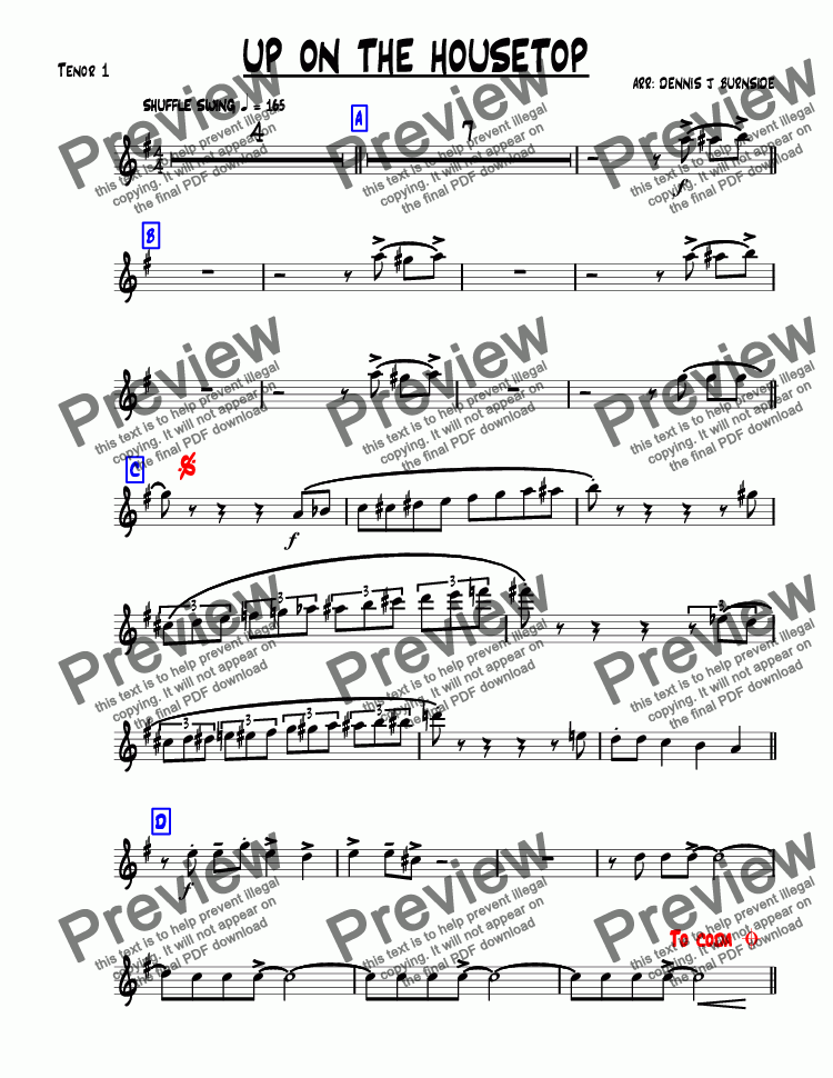 page one of the Tenor 1 part from UP ON THE HOUSETOP bigband-christmas