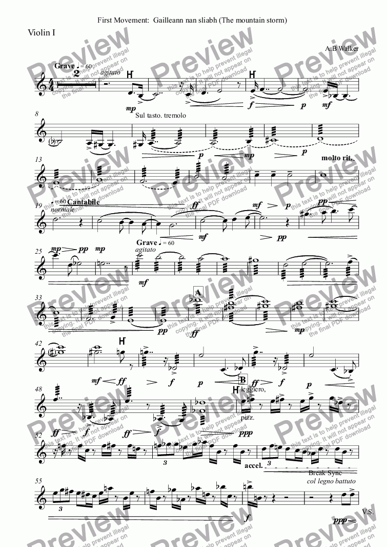 page one of the Violin I part from Symphony No1(1):  Symphony for Scotland. The Gathering.
