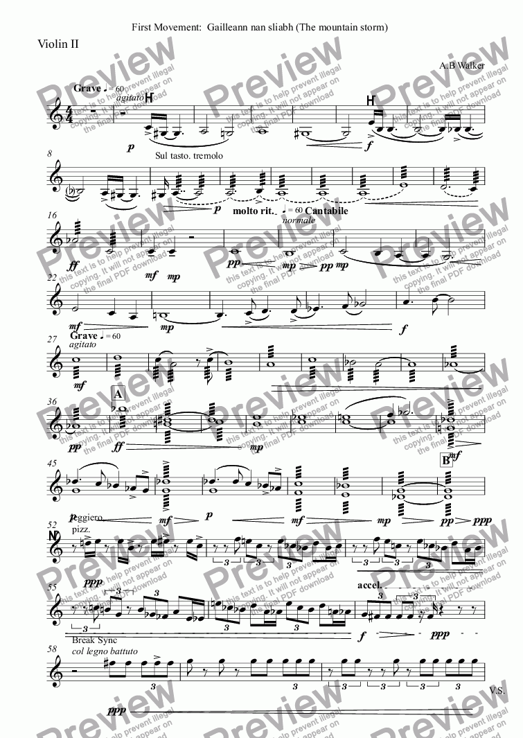page one of the Violin II part from Symphony No1(1):  Symphony for Scotland. The Gathering.