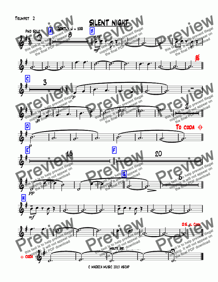 page one of the Trumpet  2 part from SILENT NIGHT bigband-christmas