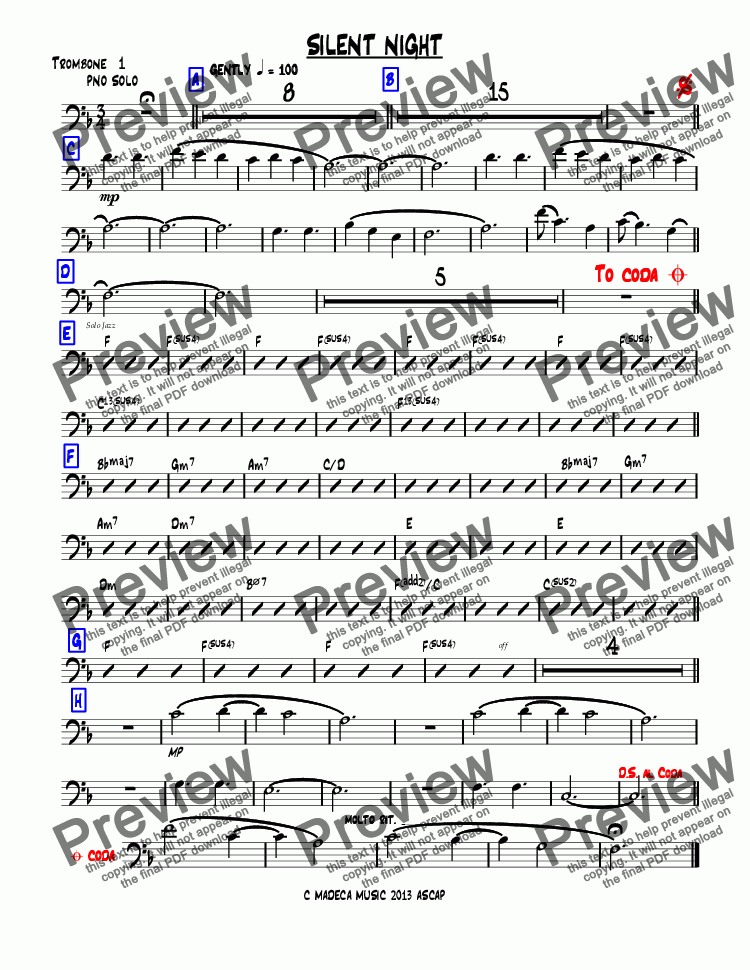 page one of the Trombone  1 part from SILENT NIGHT bigband-christmas