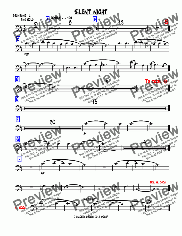 page one of the Trombone  2 part from SILENT NIGHT bigband-christmas
