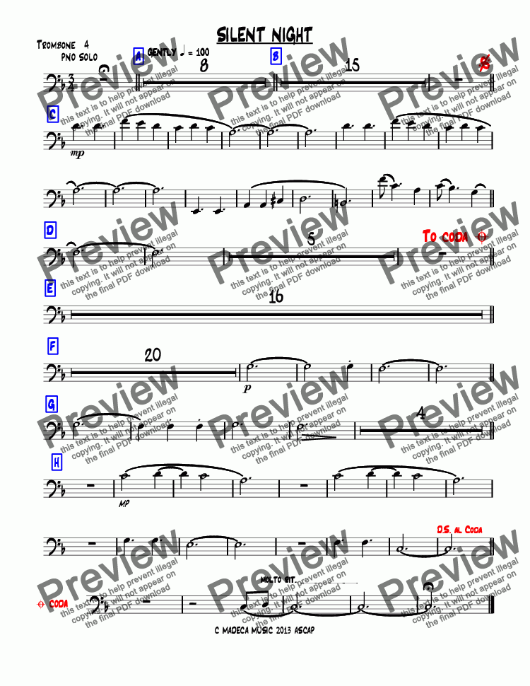page one of the Trombone  4 part from SILENT NIGHT bigband-christmas