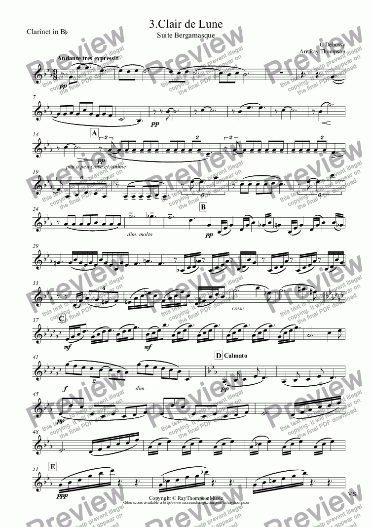 page one of the Clarinet in B^b part from Debussy: Suite Bergamasque 3.Clair de Lune - Wind Quintet