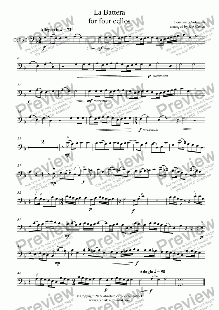 page one of the Cello 2 part from Antegnati - LA BATTERA - for four cellos