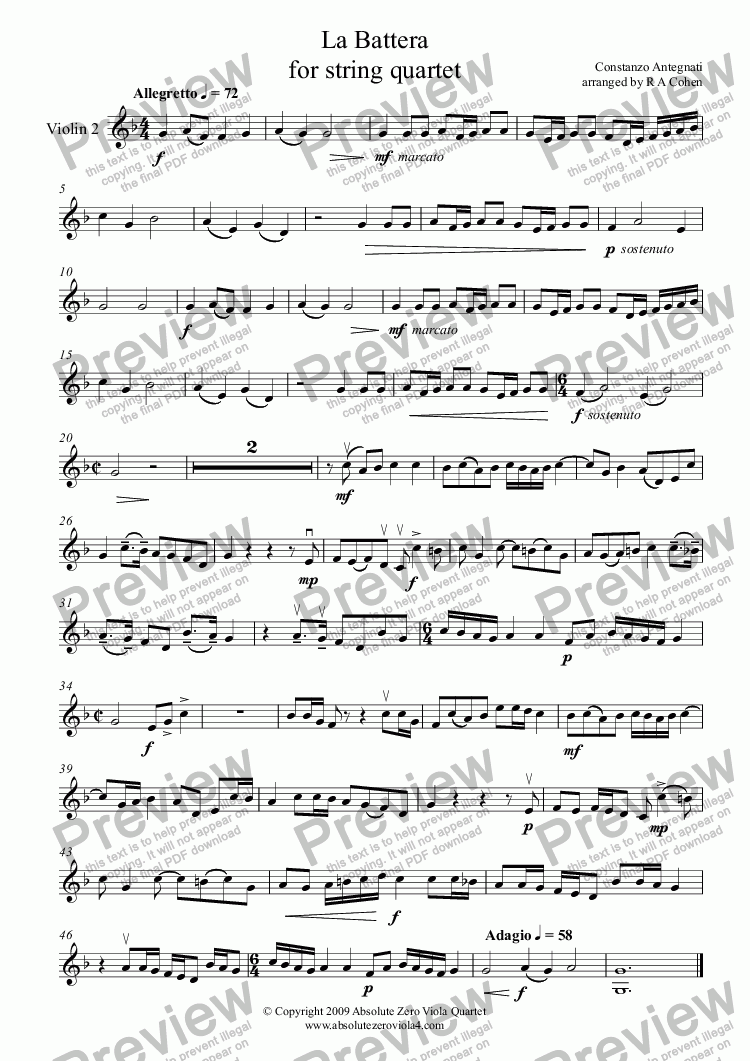 page one of the Violin 2 part from Antegnati - LA BATTERA - for string quartet