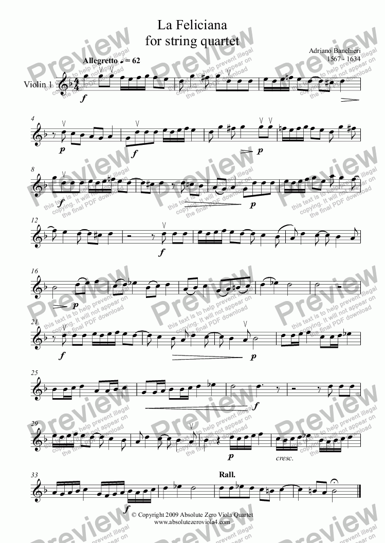 page one of the Violin 1 part from Banchieri - LA FELICIANA - for string quartet