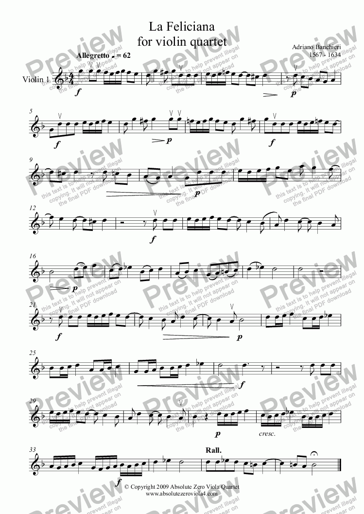 page one of the Violin 1 part from Banchieri - LA FELICIANA - for violin quartet