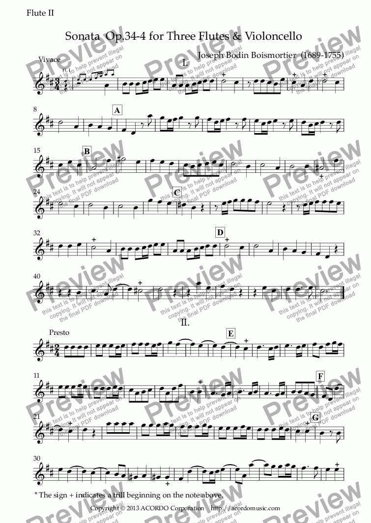 page one of the Flute II part from Sonata  Op.34-4 for Three Flutes & Violoncello
