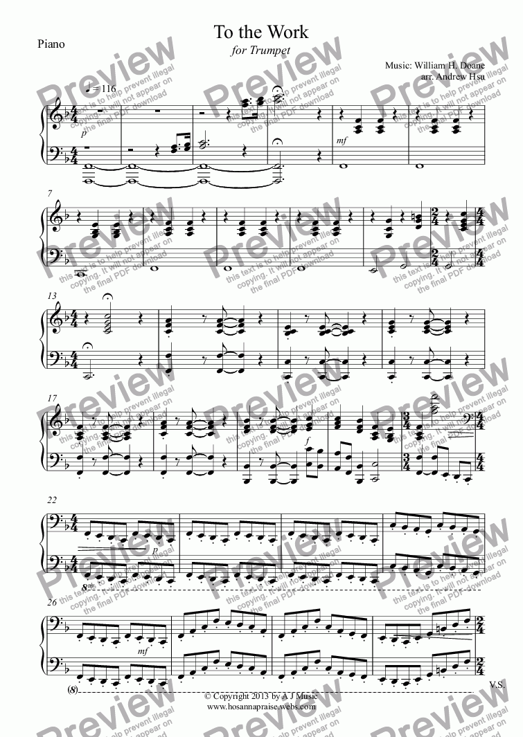 page one of the Piano part from To the Work - Trumpet