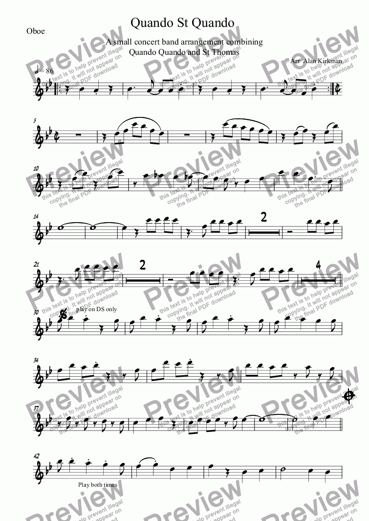 page one of the Oboe part from Quando St Quando