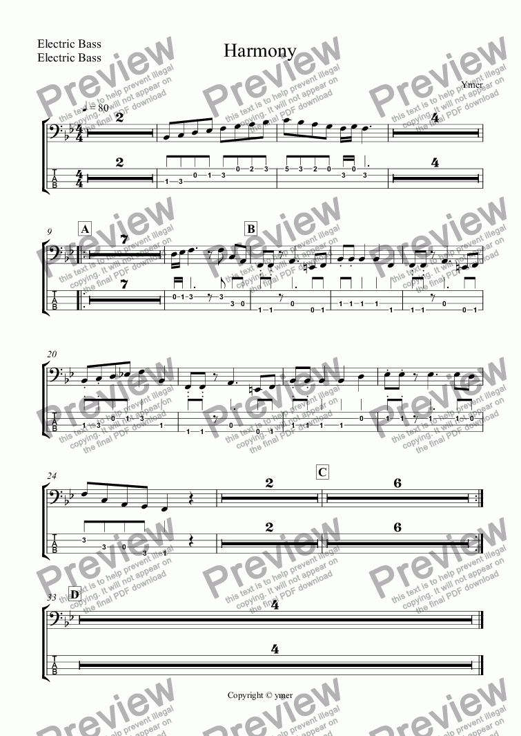 page one of the Electric Bass, Electric Bass part from Harmony