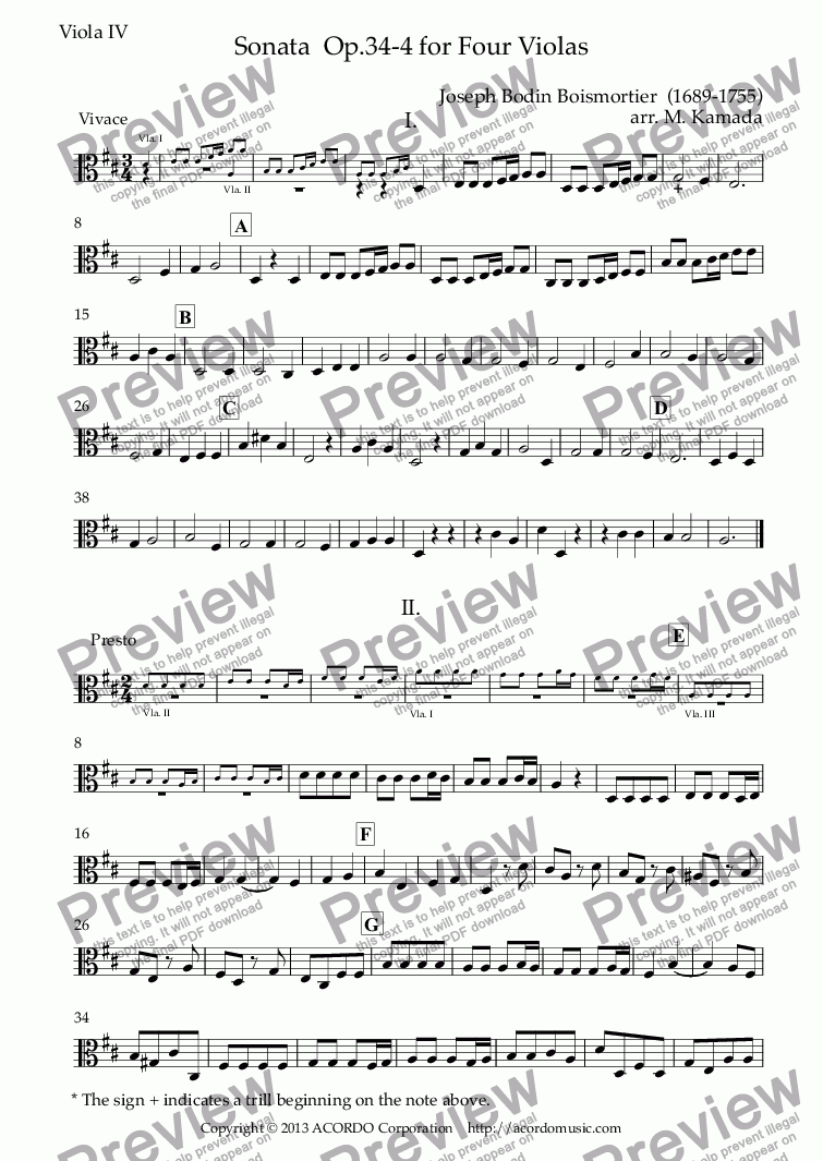 page one of the Viola IV part from Sonata  Op.34-4 for Four Violas