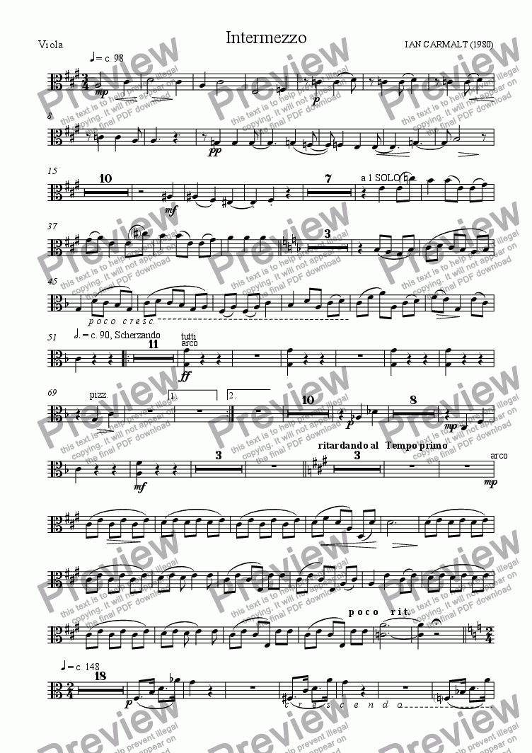 page one of the Viola part from Intermezzo