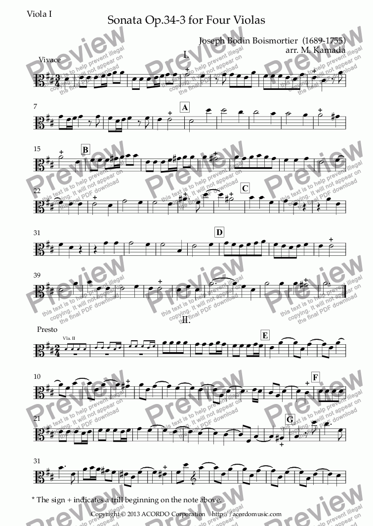 page one of the Viola I part from Sonata  Op.34-4 for Four Violas