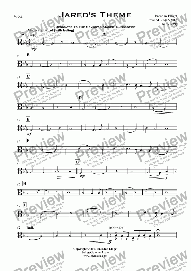 page one of the Viola part from Jared's Theme (Dedicated To The Memory Of Jared  Dunscombe)