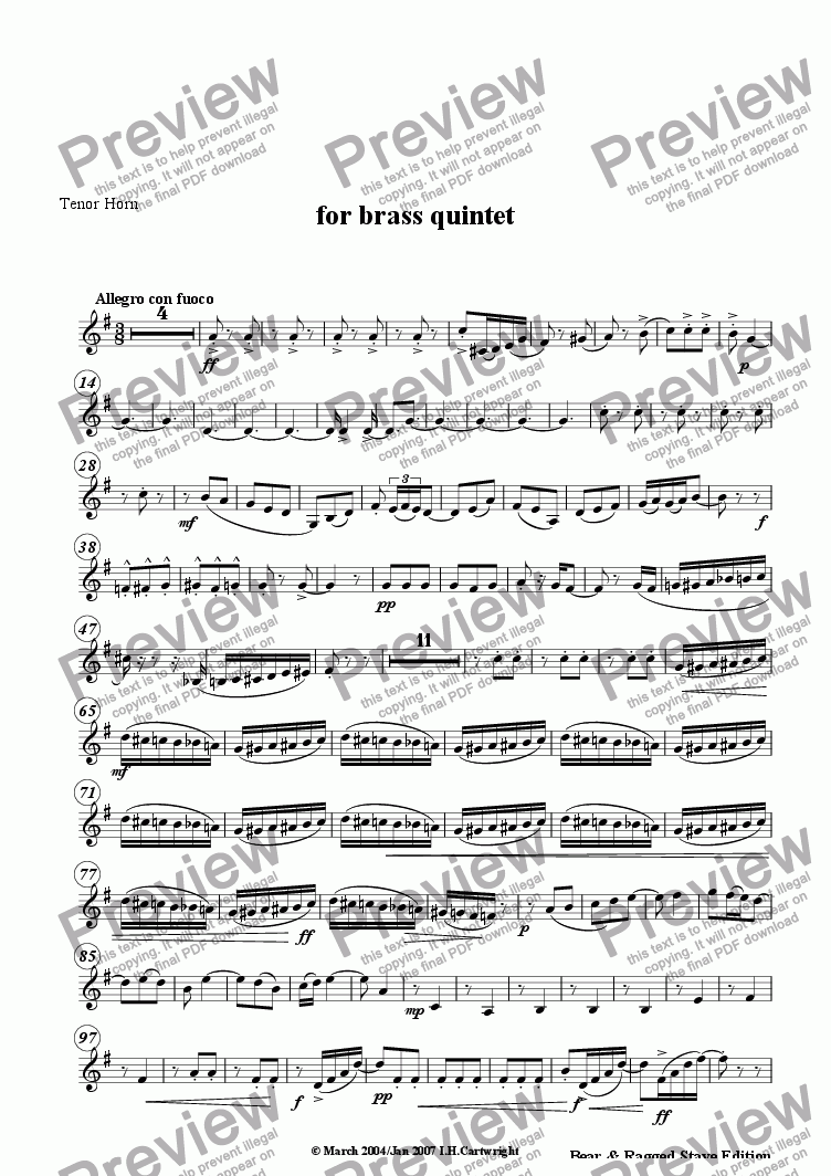 page one of the Tenor horn part from Espana for brass quintet