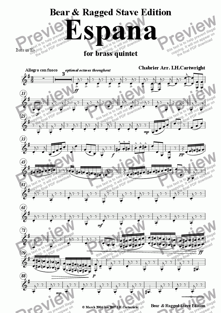 page one of the Eb Bass ( treble clef) part from Espana for brass quintet