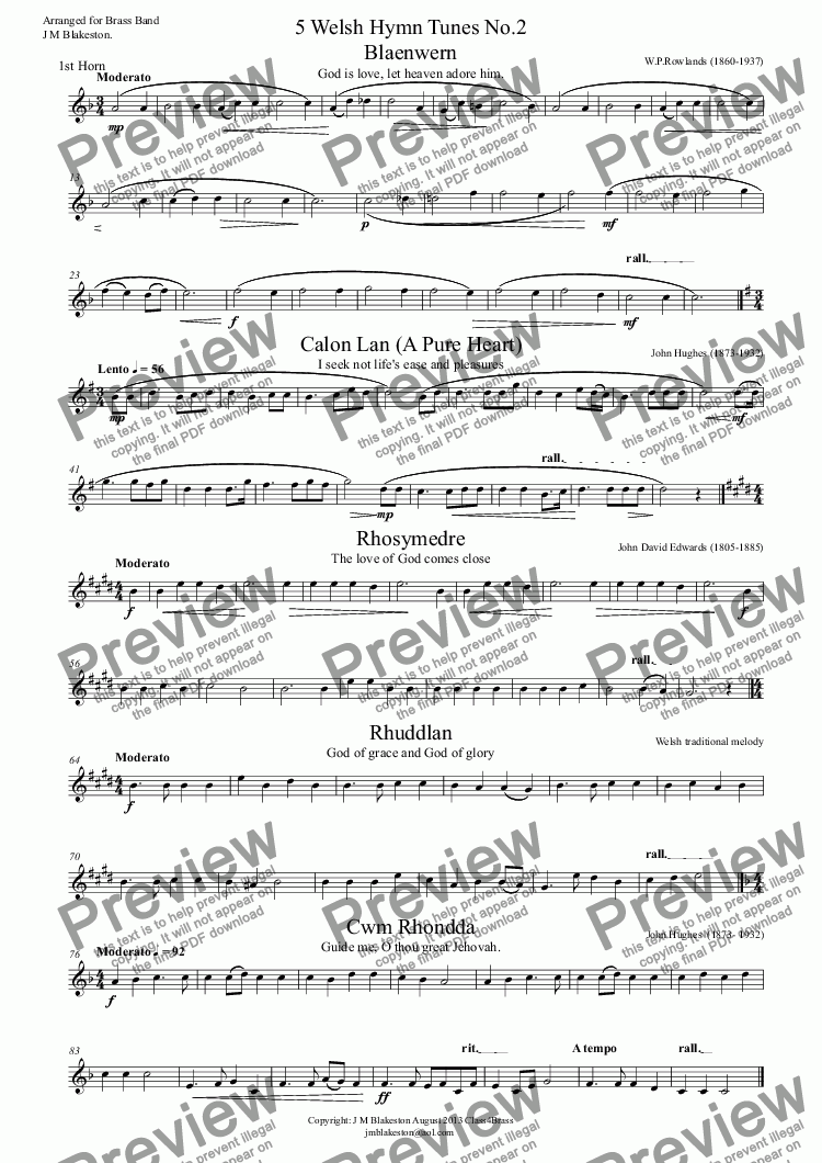 page one of the 1st Horn part from 5 Welsh Hymn Tunes No.2 (Brass Band)
