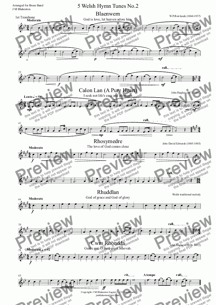 page one of the 1st Trombone part from 5 Welsh Hymn Tunes No.2 (Brass Band)