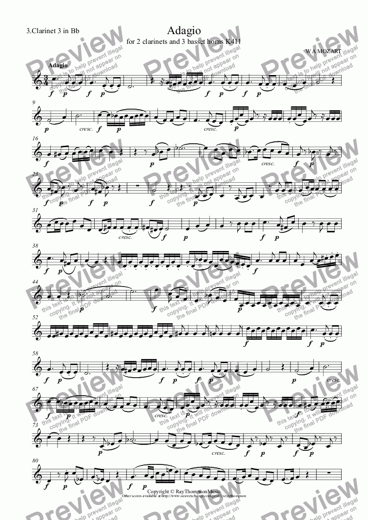 page one of the 3.Clarinet 3 in Bb part from Adagio (originally for 2 clarinets and 3 basset horns) K411