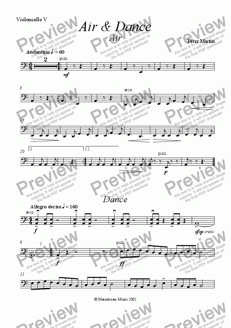 page one of the Cello 5 part from Air & Dance