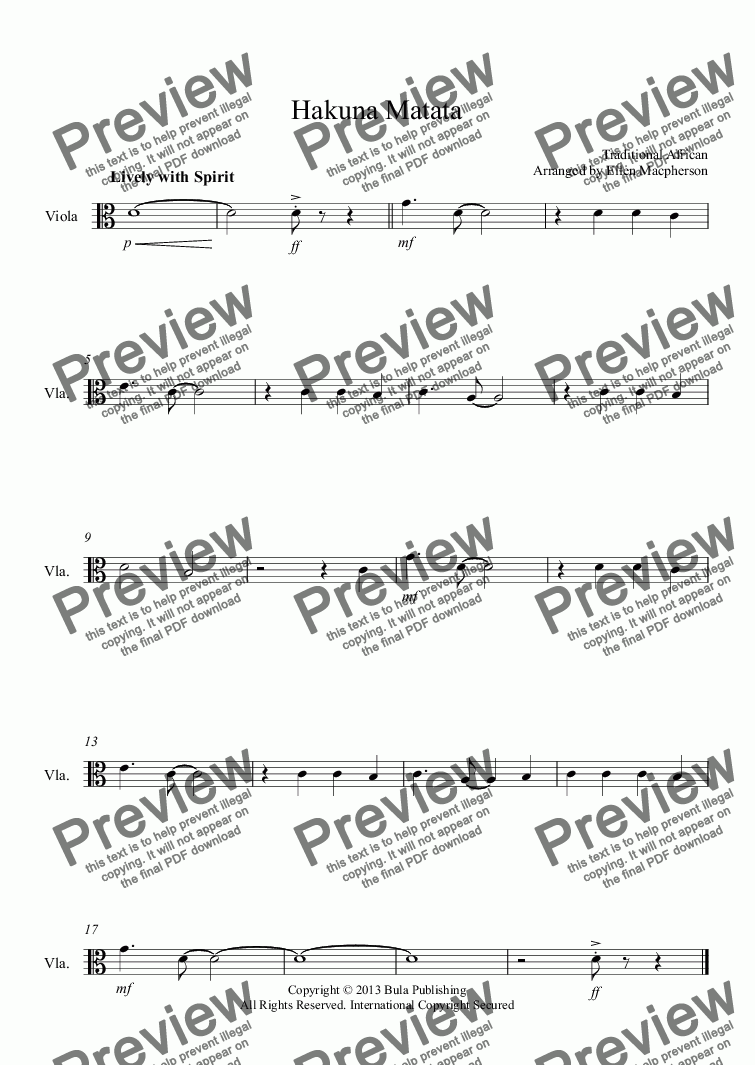 "page one of the viola part -Hakuna Matata part from ""Hakuna Matata"" - Traditional African - String Quartet"