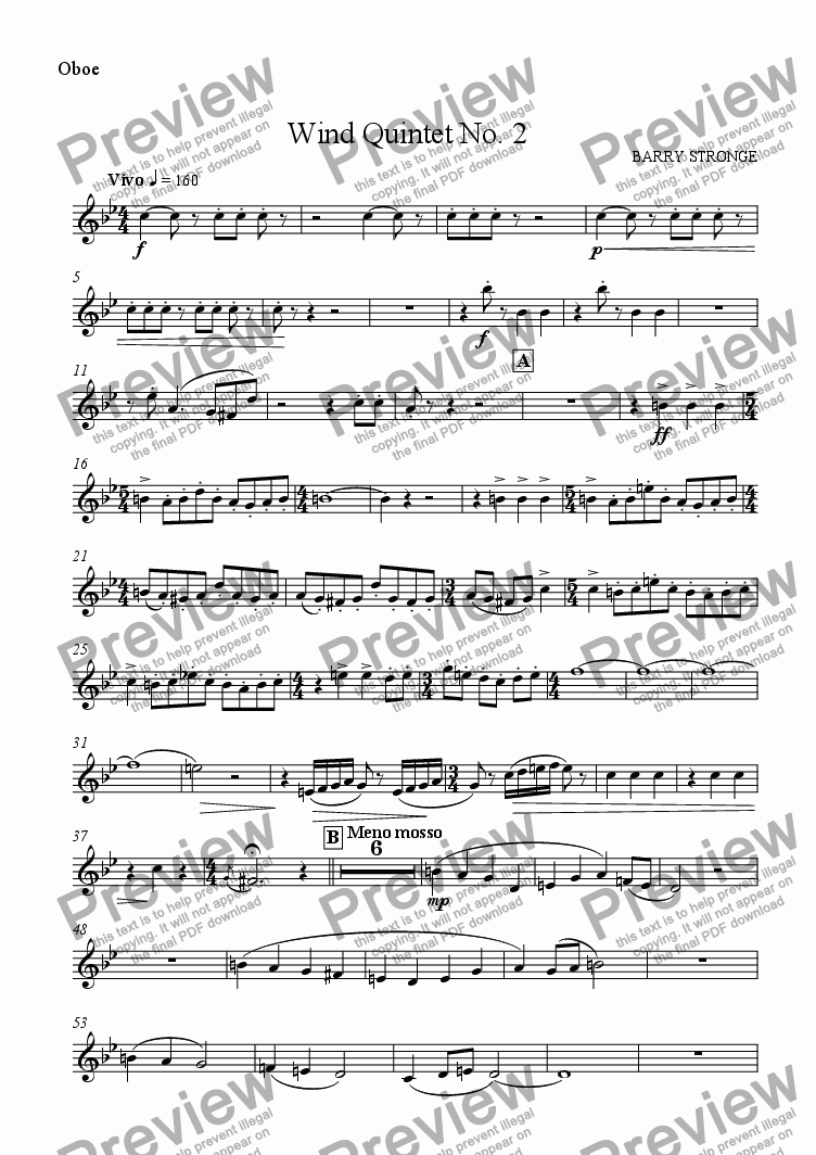 page one of the Oboe part from Wind Quintet No. 2