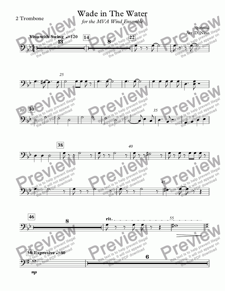 page one of the 2 Trombone part from Wade in The Water