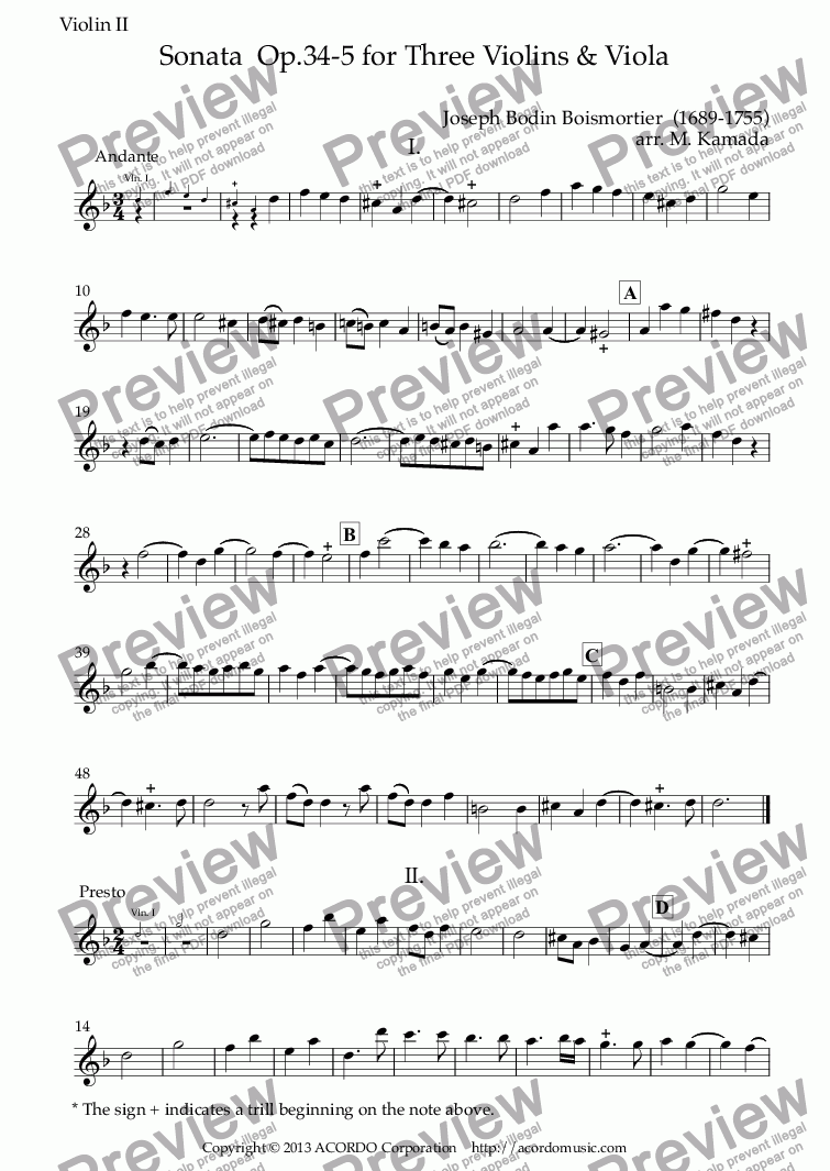 page one of the Violin II part from Sonata  Op.34-5 for Three Violins & Viola