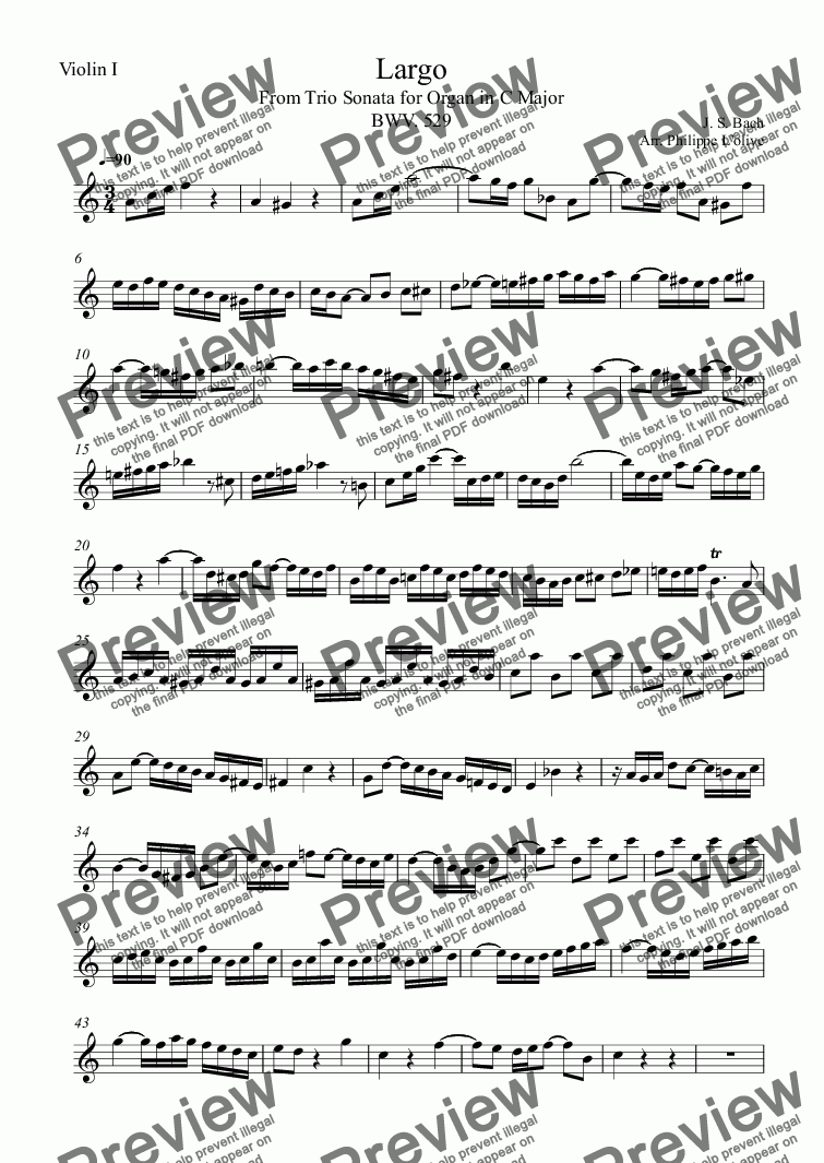 page one of the Violin I part from Largo From Trio Sonata for Organ in C Major BWV 529 for String Trio