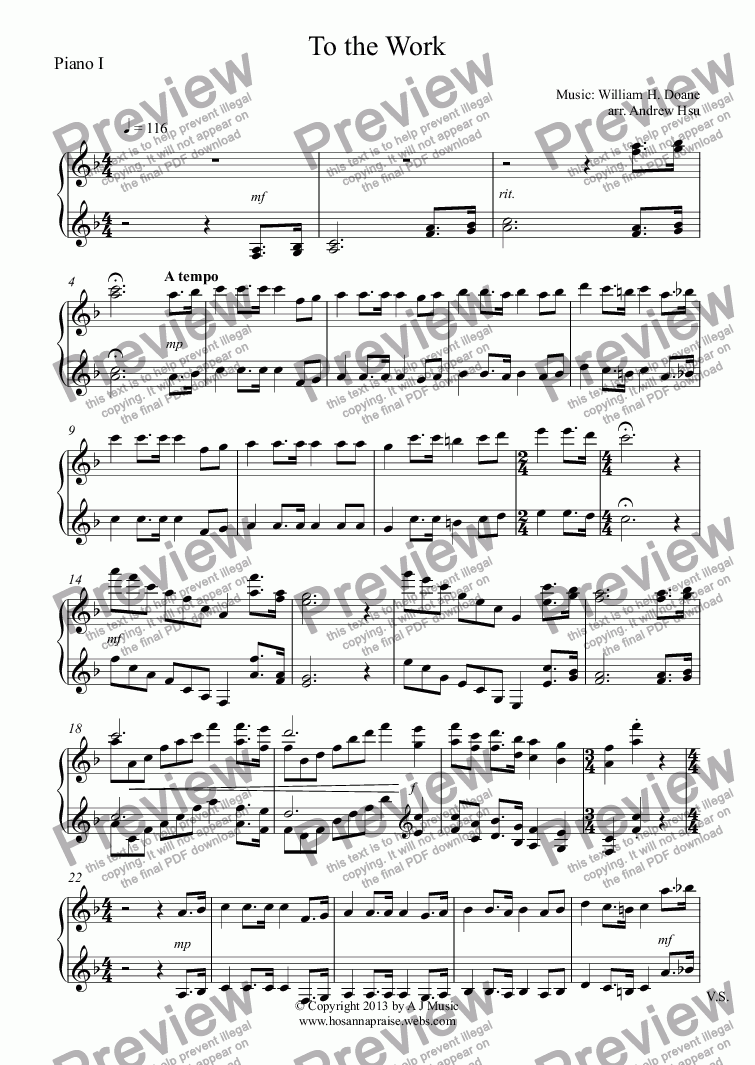 page one of the Piano I part from To the Work - Piano Four Hands