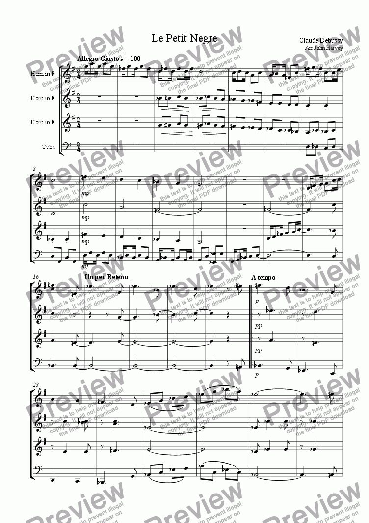 page one of the F Horns&Tuba part from Le Petit Negre for brass