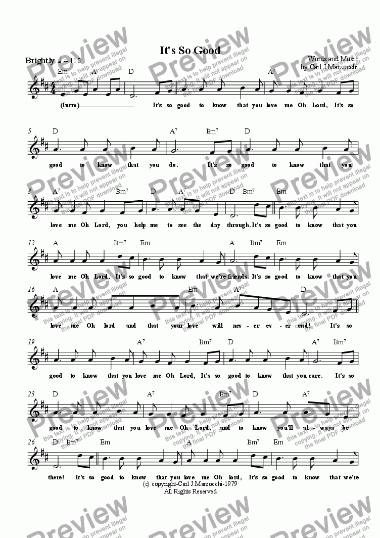 page one of the Guitar/Vocal Lead Sheet part from It's So Good
