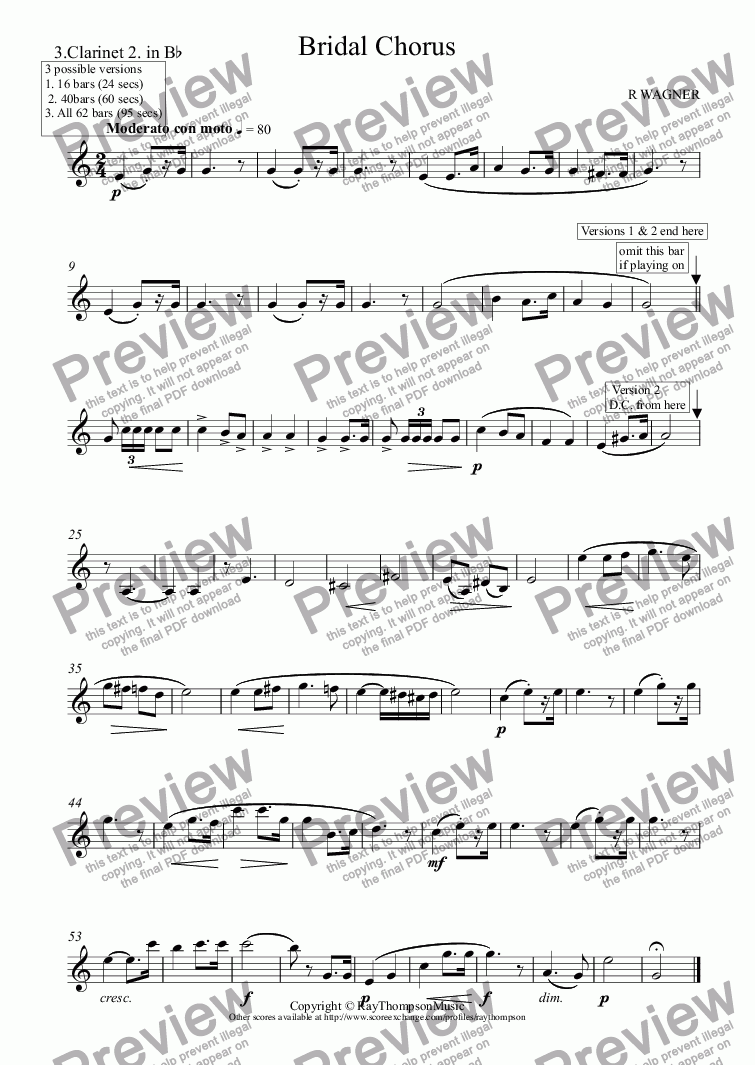 page one of the 3.Clarinet 2. in B^b part from Bridal Chorus