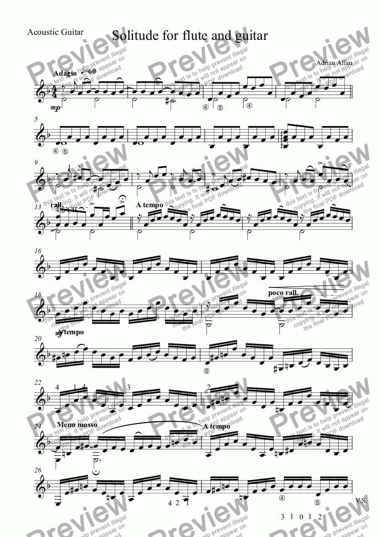 page one of the Acoustic Guitar part from Solitude for flute and guitar