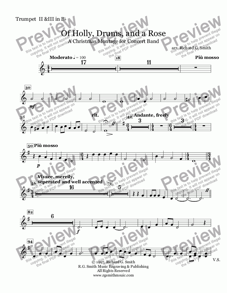 page one of the Trumpet  II &III in B^b part from Of Holly, Drums, and a Rose