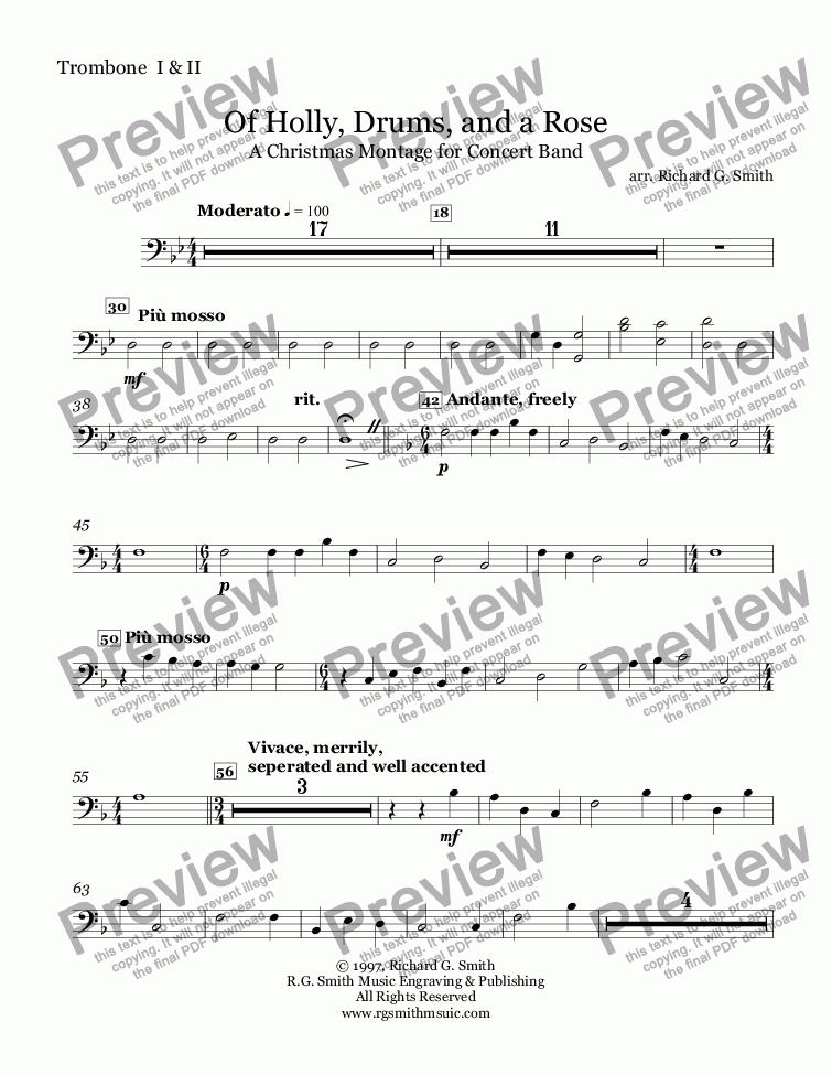 page one of the Trombone  I & II part from Of Holly, Drums, and a Rose