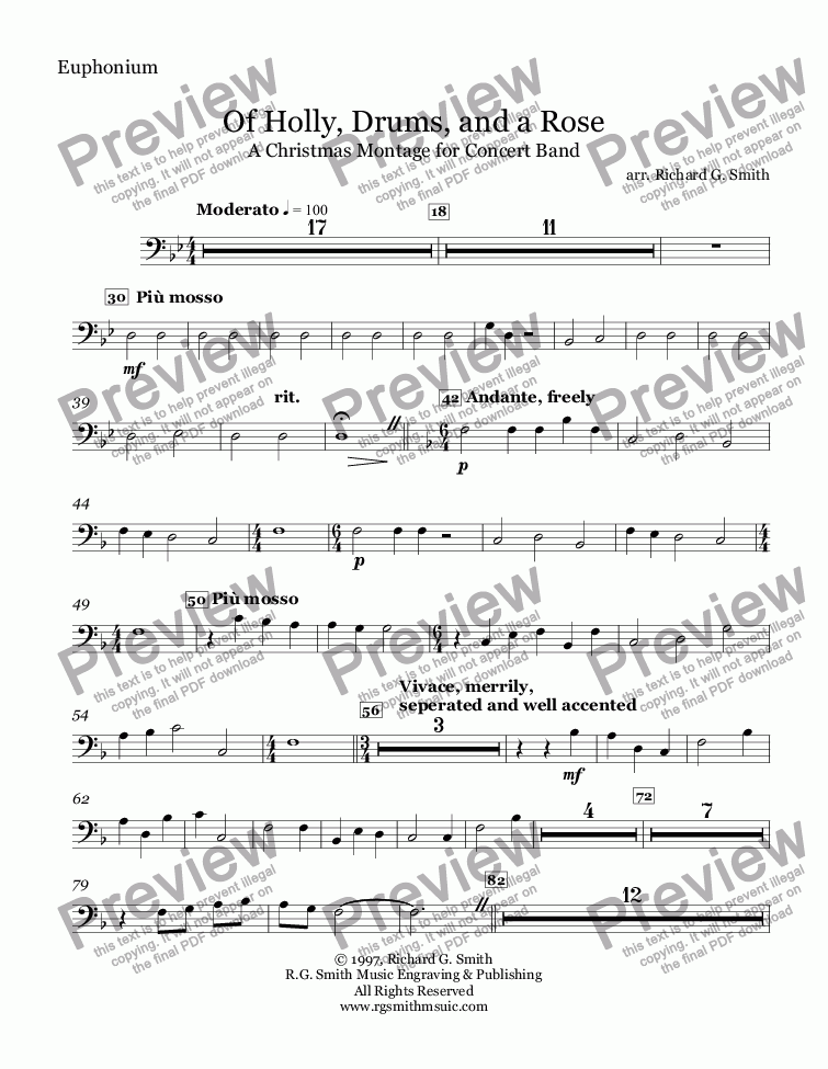 page one of the Euphonium part from Of Holly, Drums, and a Rose