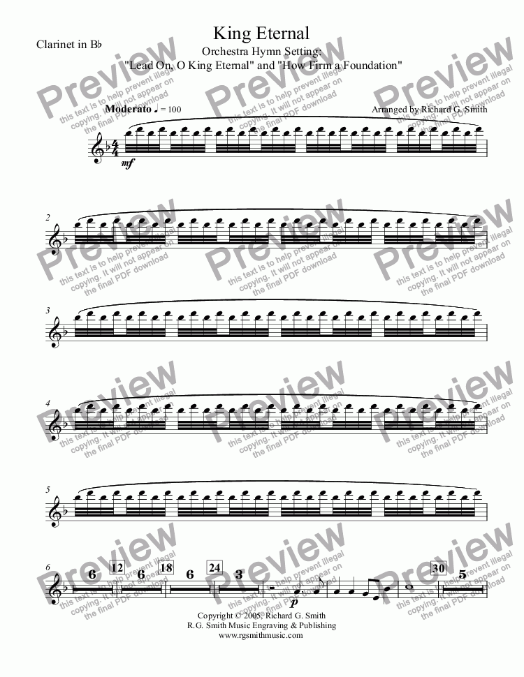 page one of the Clarinet in B^b part from King Eternal