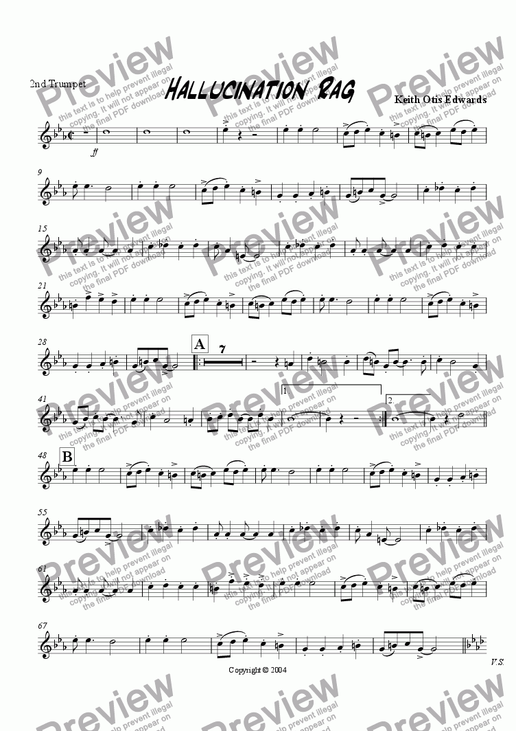 page one of the 2nd Trumpet part from Hallucination Rag