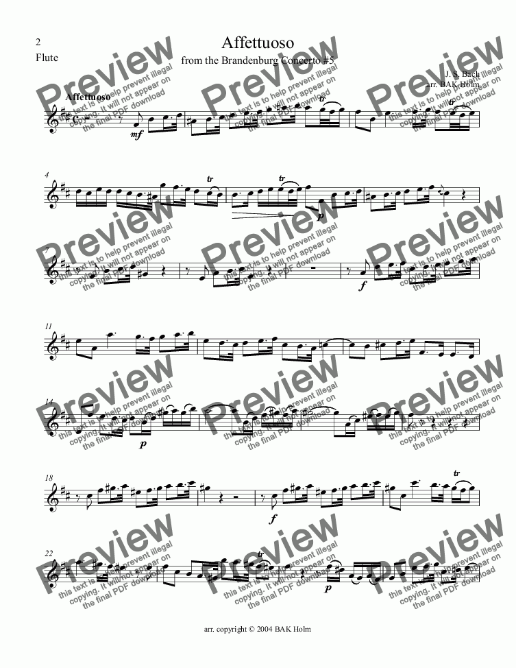 page one of the Flute part from Affettuoso-Bach(flute,violin,cello)Brandenburg No.5