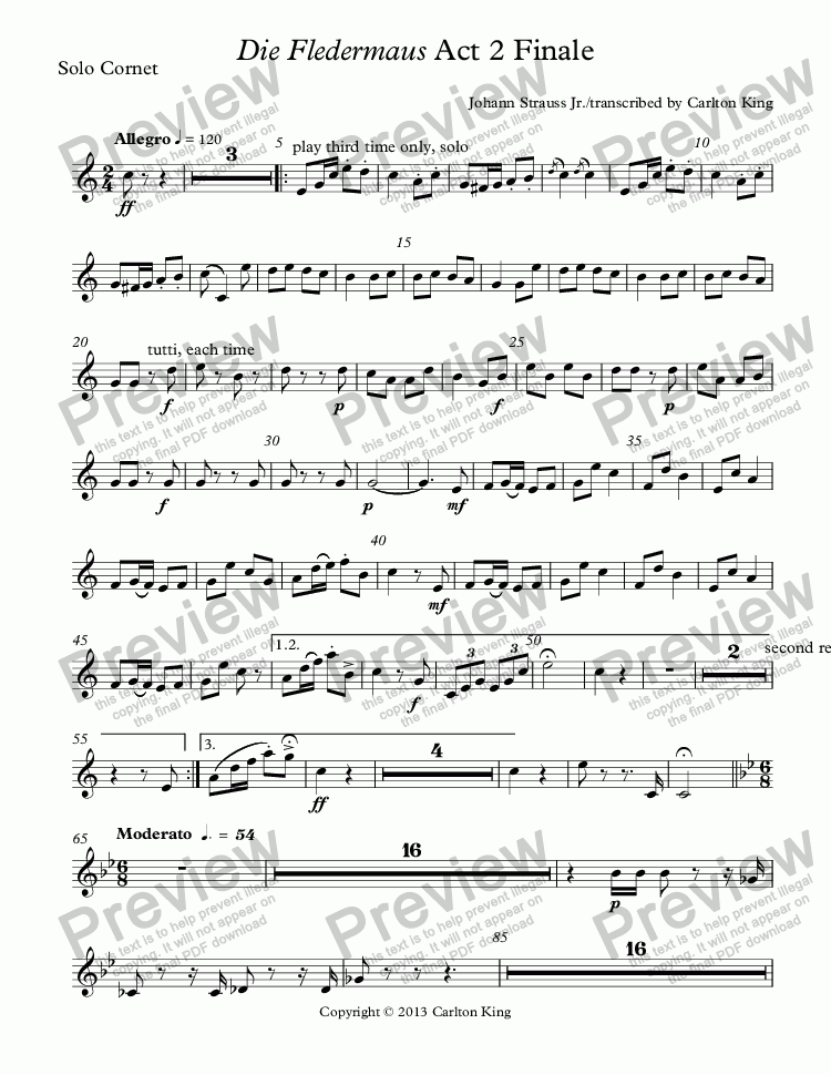 page one of the Solo Cornet part from Die Fledermaus Act 2 Finale