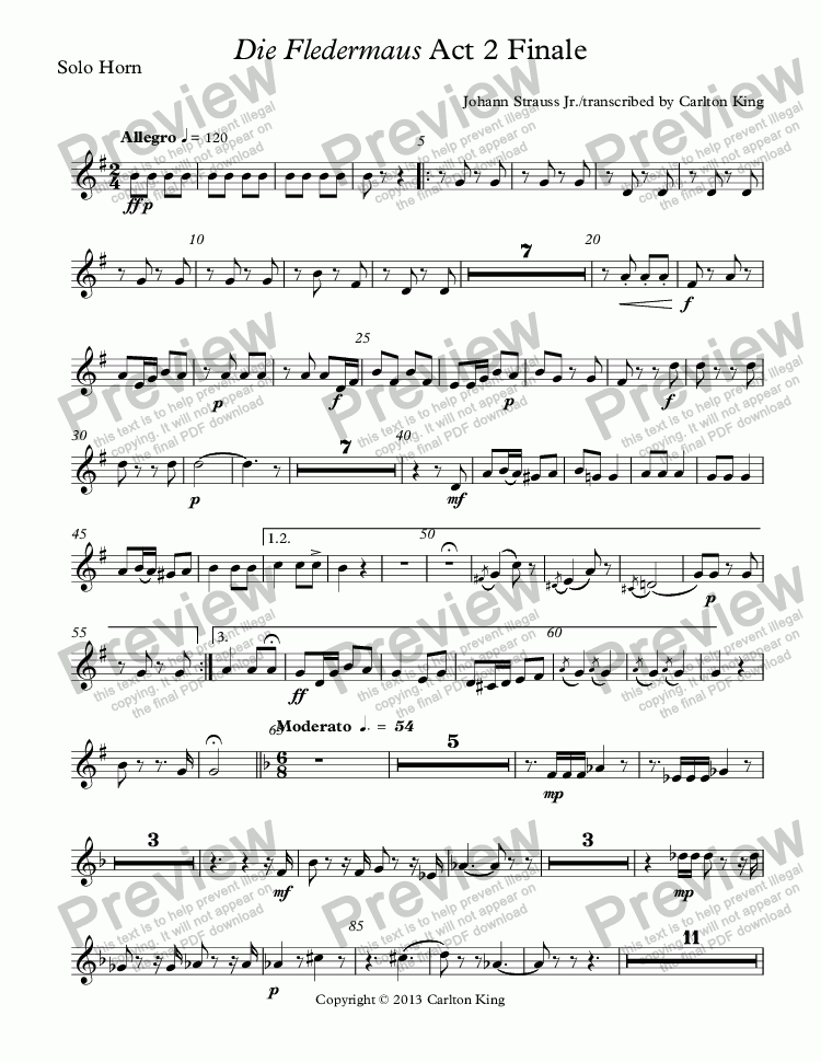 page one of the Solo Horn part from Die Fledermaus Act 2 Finale