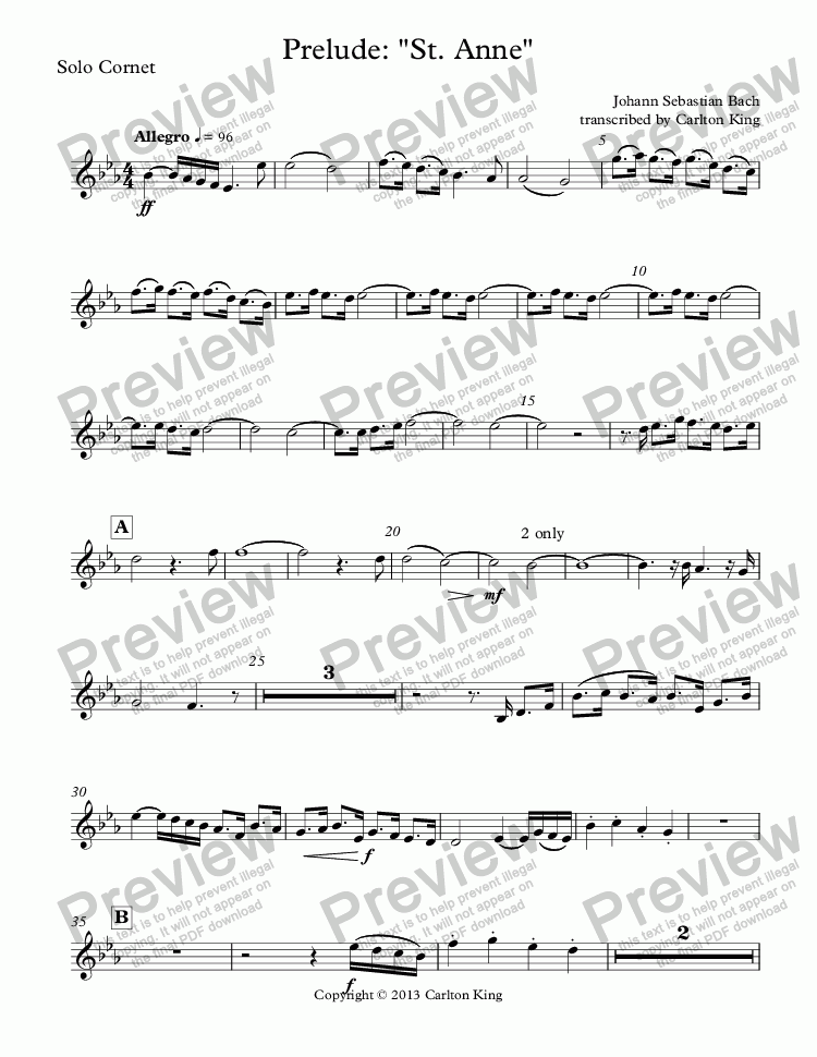 "page one of the Solo Cornet part from Prelude: ""St. Anne"""